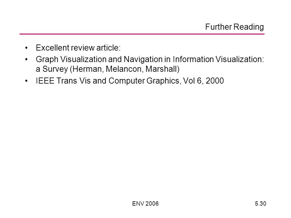 ENV 20065.30 Further Reading Excellent review article: Graph Visualization and Navigation in Information Visualization: a Survey (Herman, Melancon, Marshall) IEEE Trans Vis and Computer Graphics, Vol 6, 2000