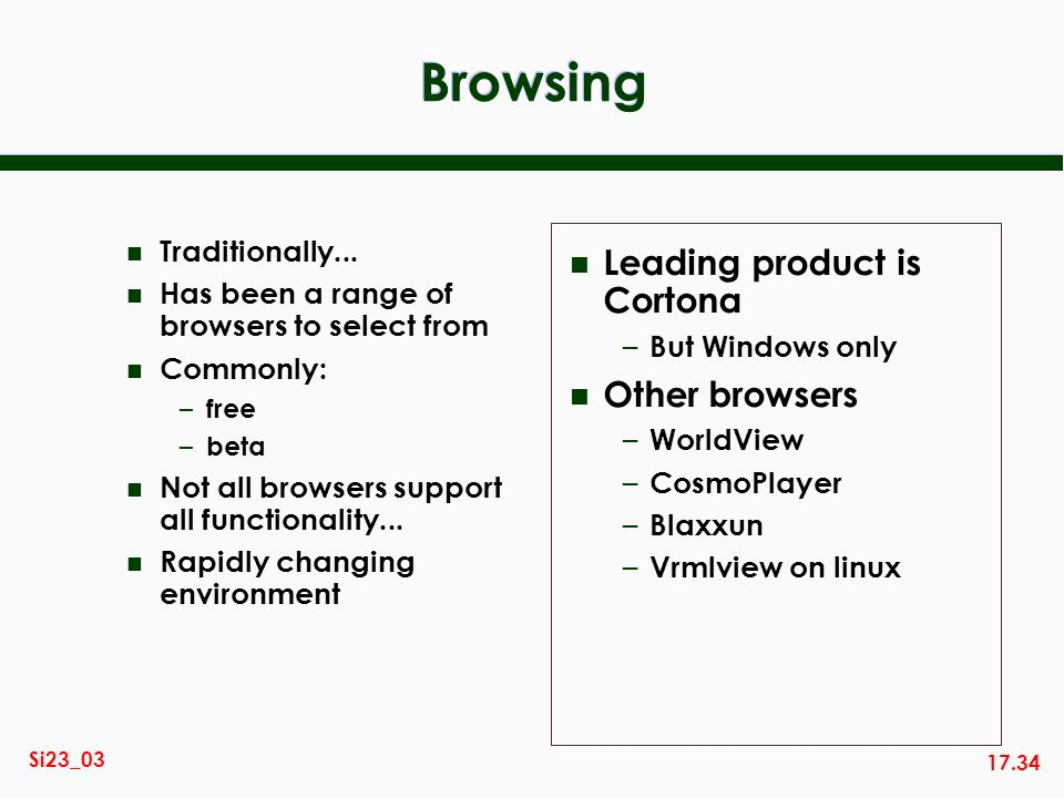 17.34 Si23_03 Browsing n Traditionally... n Has been a range of browsers to select from n Commonly: – free – beta n Not all browsers support all funct