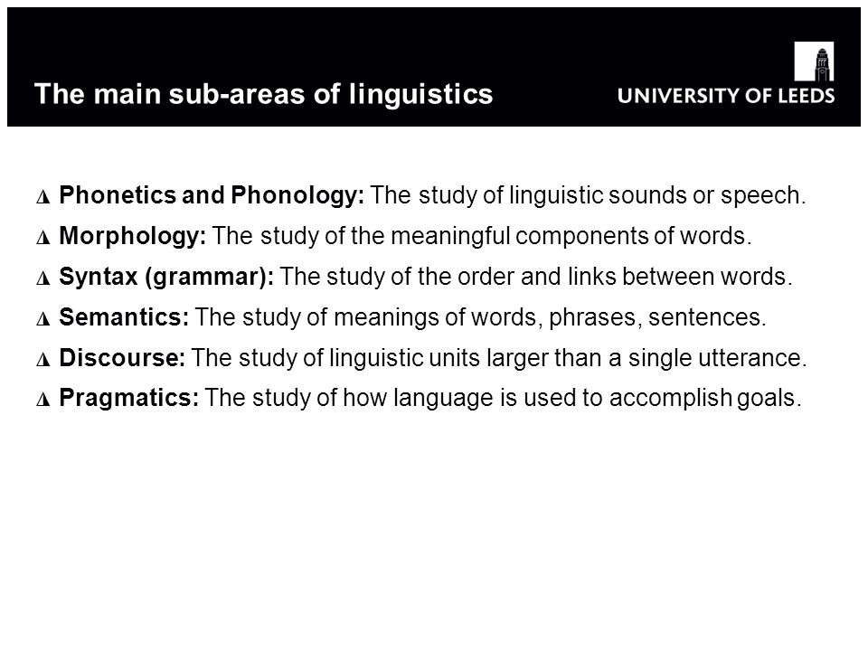The main sub-areas of linguistics Phonetics and Phonology: The study of linguistic sounds or speech.