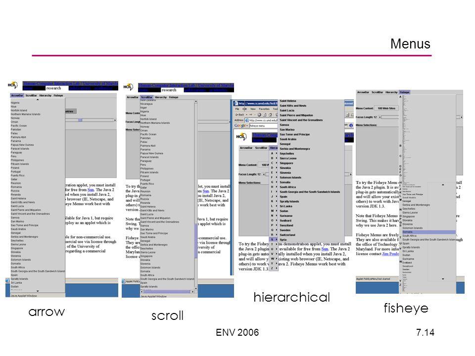 ENV 20067.14 Menus arrow scroll hierarchical fisheye