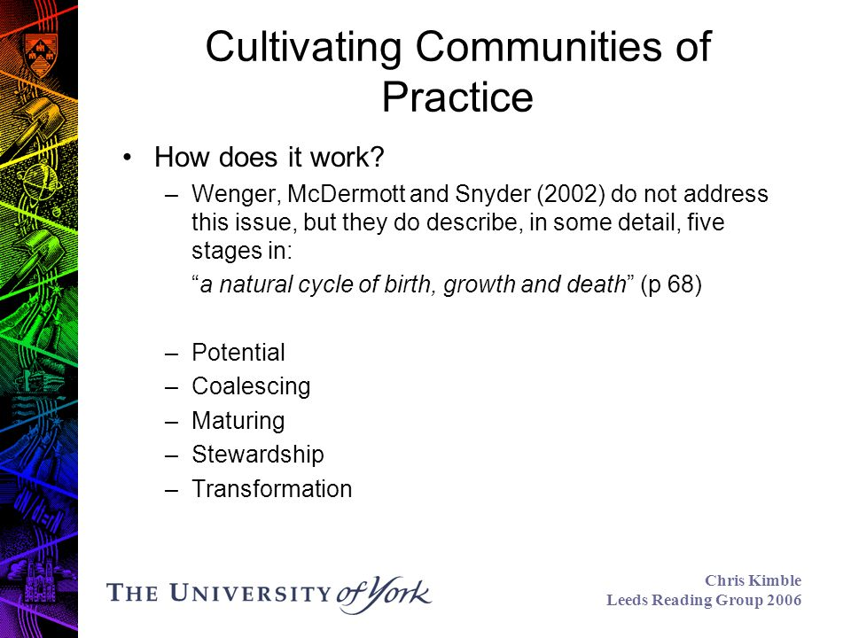 Chris Kimble Leeds Reading Group 2006 Cultivating Communities of Practice How does it work.