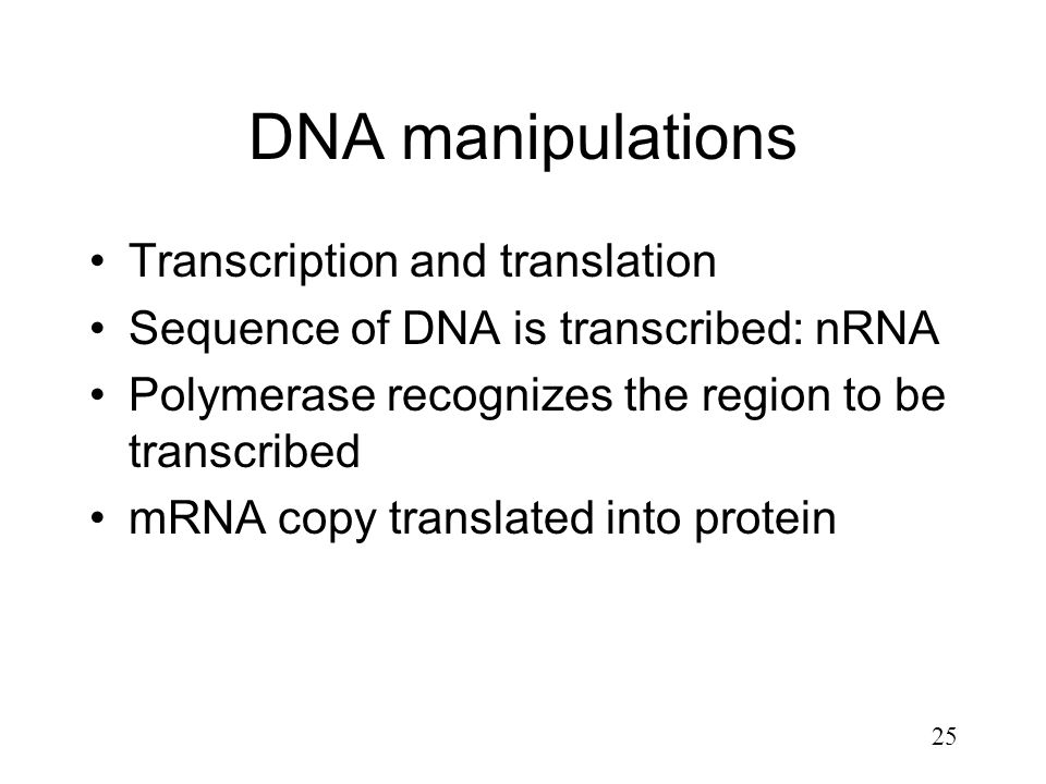 25 DNA manipulations Transcription and translation Sequence of DNA is transcribed: nRNA Polymerase recognizes the region to be transcribed mRNA copy t