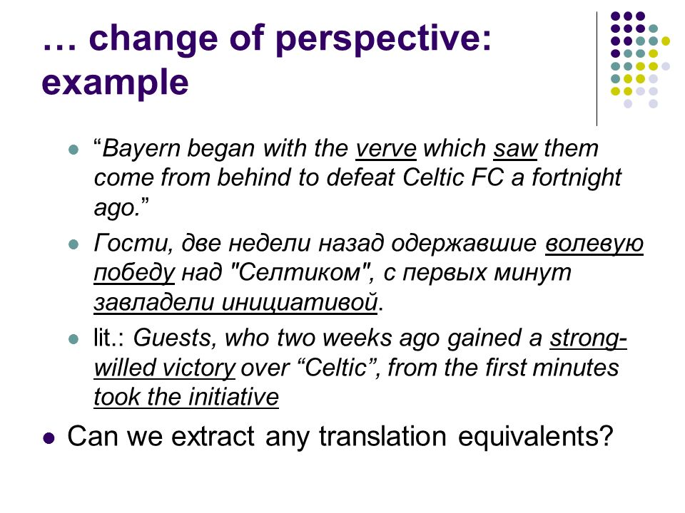 … change of perspective: example Bayern began with the verve which saw them come from behind to defeat Celtic FC a fortnight ago. Гости, две недели на