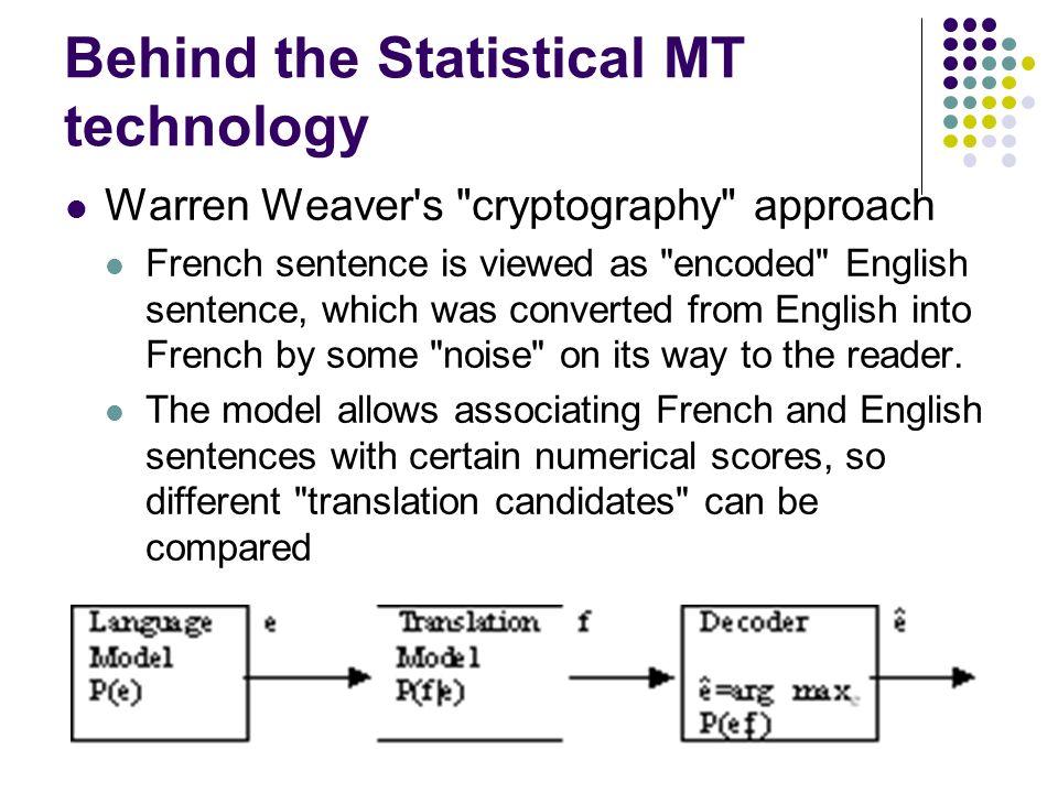 Behind the Statistical MT technology Warren Weaver's