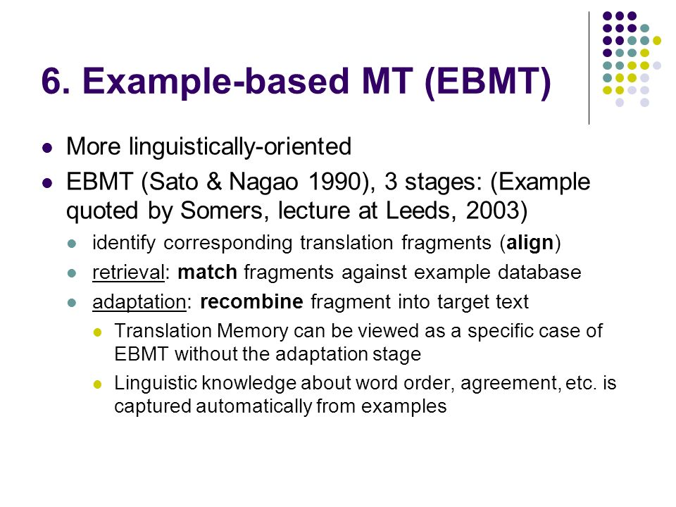 6. Example-based MT (EBMT) More linguistically-oriented EBMT (Sato & Nagao 1990), 3 stages: (Example quoted by Somers, lecture at Leeds, 2003) identif