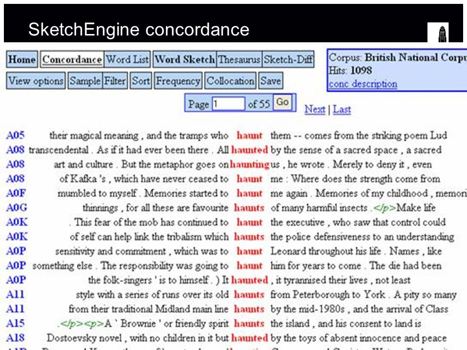 SketchEngine concordance