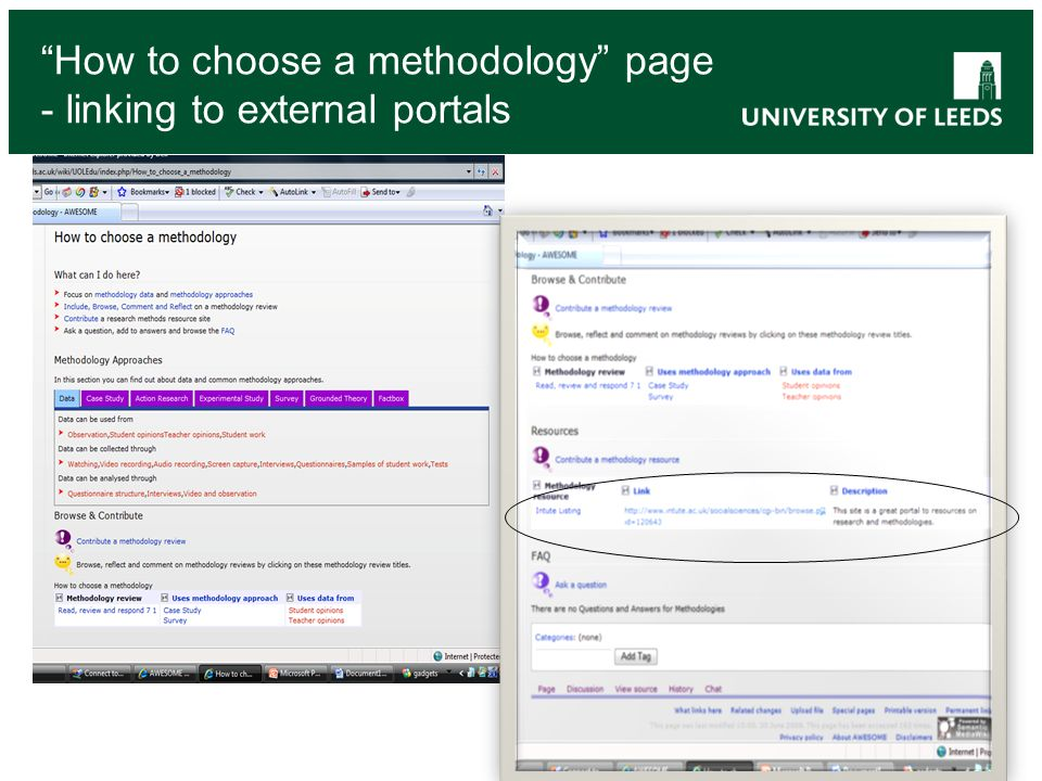 How to choose a methodology page - linking to external portals