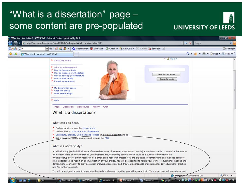 What is a dissertation page – some content are pre-populated