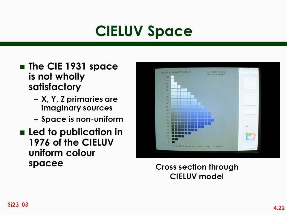 4.22 Si23_03 CIELUV Space n The CIE 1931 space is not wholly satisfactory – X, Y, Z primaries are imaginary sources – Space is non-uniform n Led to publication in 1976 of the CIELUV uniform colour spacee Cross section through CIELUV model