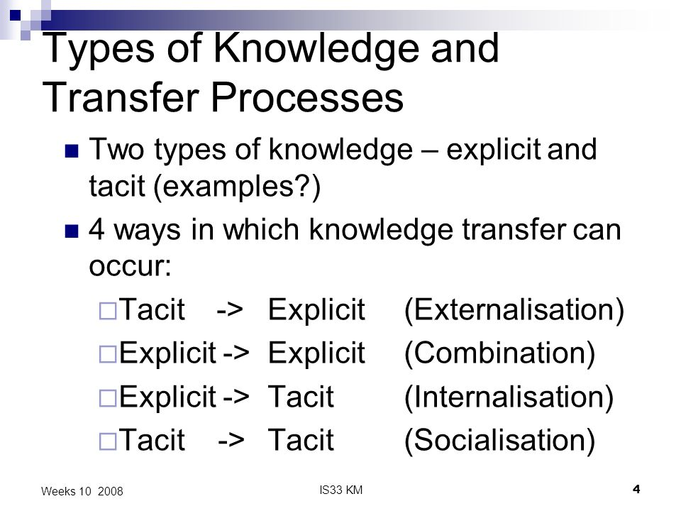 IS33 KM4 Weeks 10 2008 Types of Knowledge and Transfer Processes Two types of knowledge – explicit and tacit (examples ) 4 ways in which knowledge transfer can occur: Tacit -> Explicit (Externalisation) Explicit -> Explicit (Combination) Explicit -> Tacit (Internalisation) Tacit -> Tacit (Socialisation)