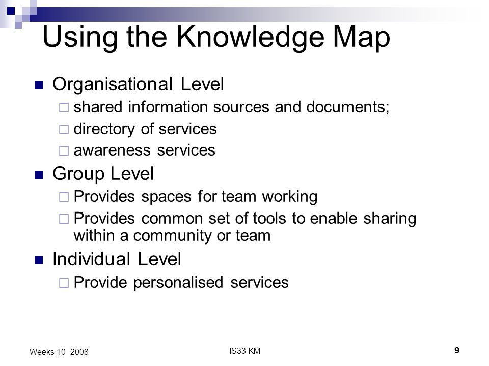 IS33 KM9 Weeks 10 2008 Using the Knowledge Map Organisational Level shared information sources and documents; directory of services awareness services Group Level Provides spaces for team working Provides common set of tools to enable sharing within a community or team Individual Level Provide personalised services