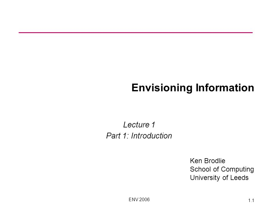 ENV 2006 1.1 Envisioning Information Lecture 1 Part 1: Introduction Ken Brodlie School of Computing University of Leeds