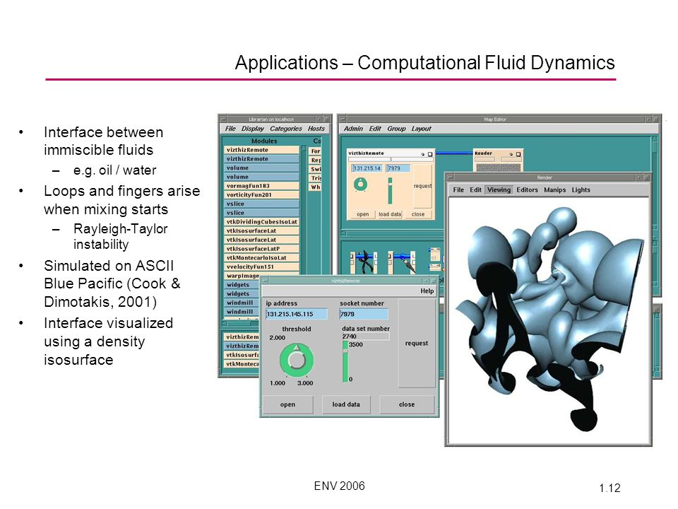 ENV 2006 1.12 Applications – Computational Fluid Dynamics Interface between immiscible fluids –e.g.