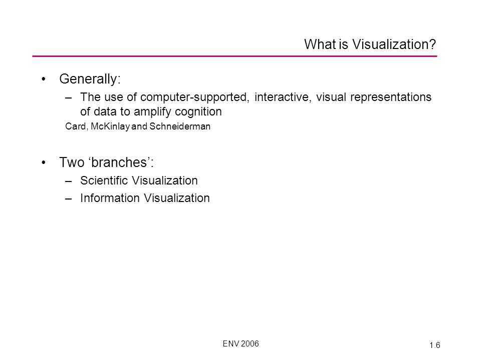 ENV 2006 1.6 What is Visualization.