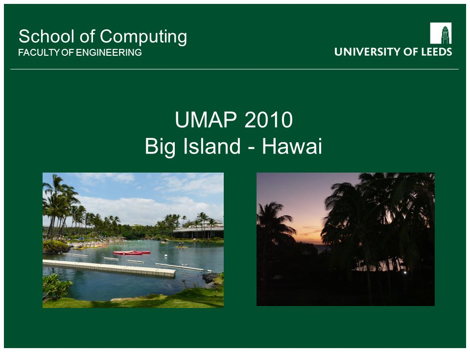 School of something FACULTY OF OTHER School of Computing FACULTY OF ENGINEERING UMAP 2010 Big Island - Hawai