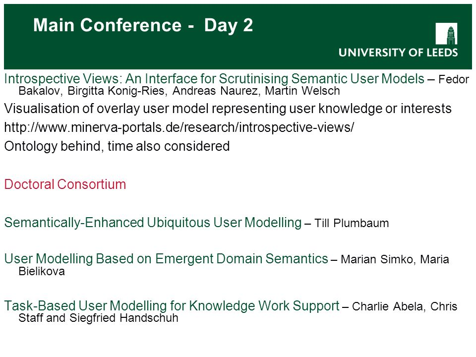 Main Conference - Day 3 Short Research Papers