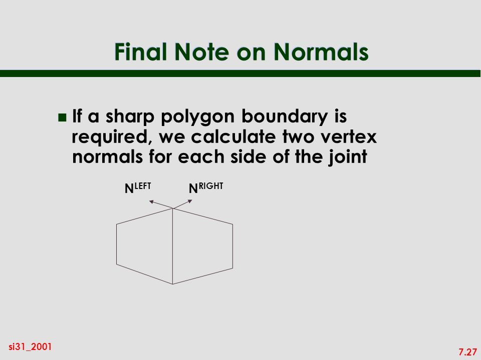 7.27 si31_2001 Final Note on Normals n If a sharp polygon boundary is required, we calculate two vertex normals for each side of the joint N LEFT N RIGHT