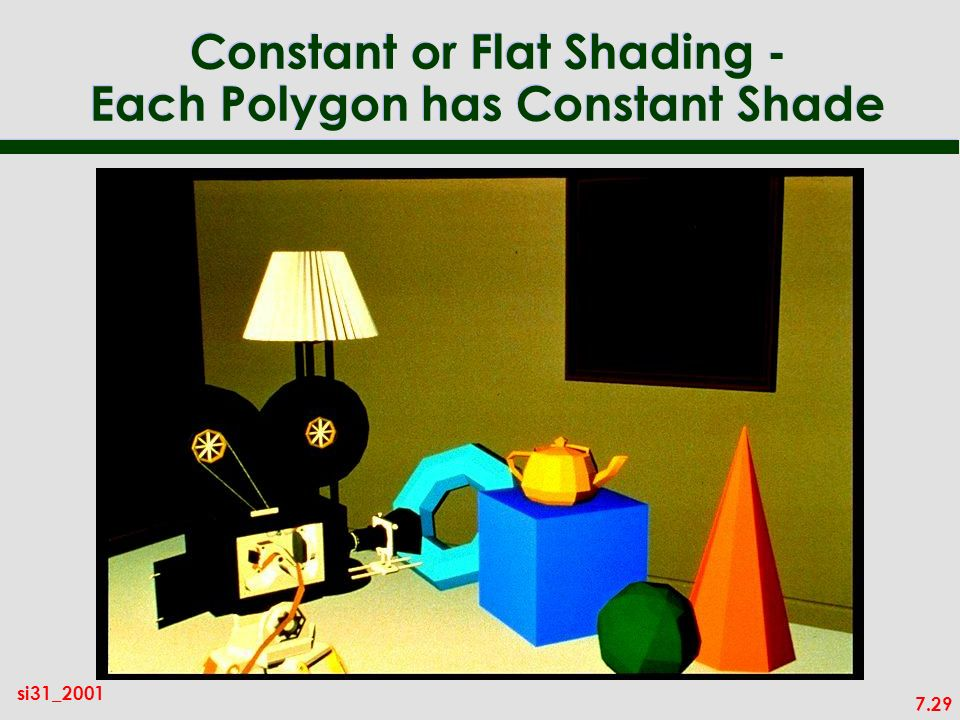 7.29 si31_2001 Constant or Flat Shading - Each Polygon has Constant Shade
