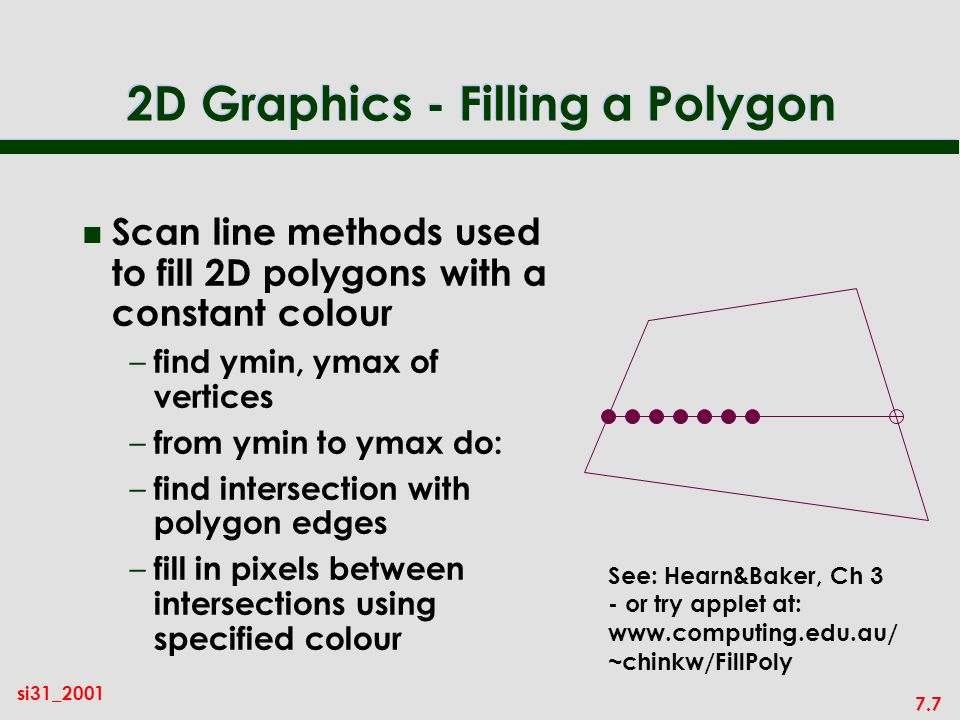 7.7 si31_2001 2D Graphics - Filling a Polygon n Scan line methods used to fill 2D polygons with a constant colour – find ymin, ymax of vertices – from ymin to ymax do: – find intersection with polygon edges – fill in pixels between intersections using specified colour See: Hearn&Baker, Ch 3 - or try applet at: www.computing.edu.au/ ~chinkw/FillPoly