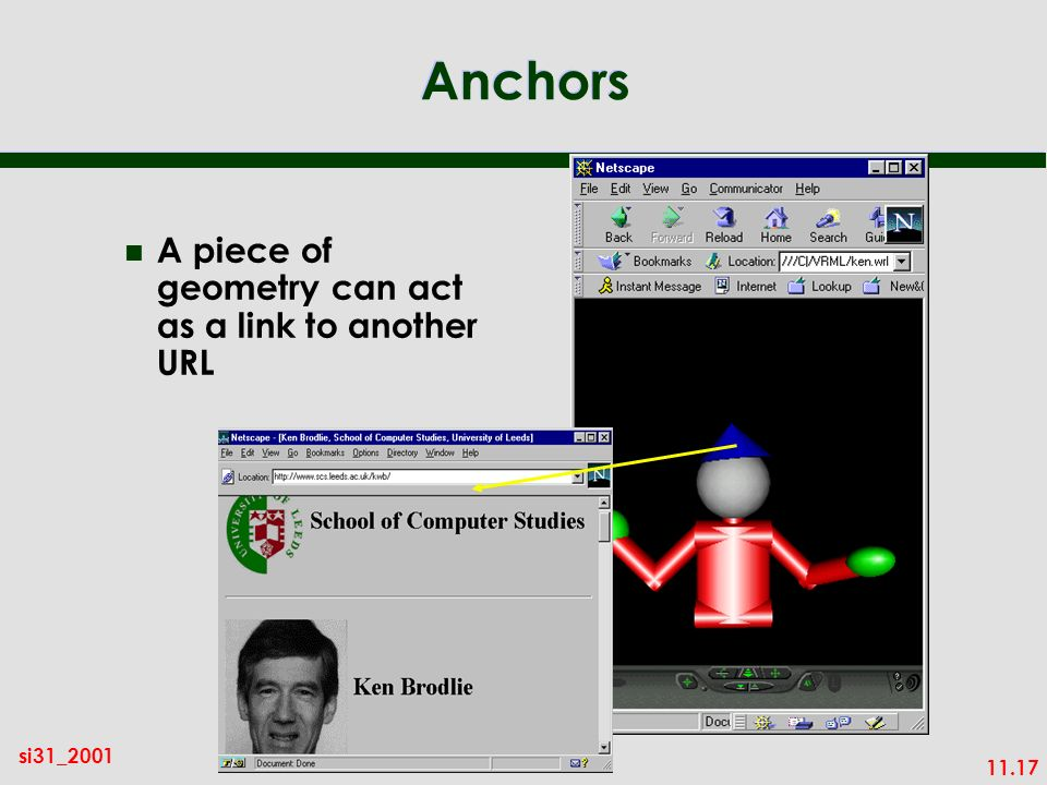 11.17 si31_2001 Anchors n A piece of geometry can act as a link to another URL