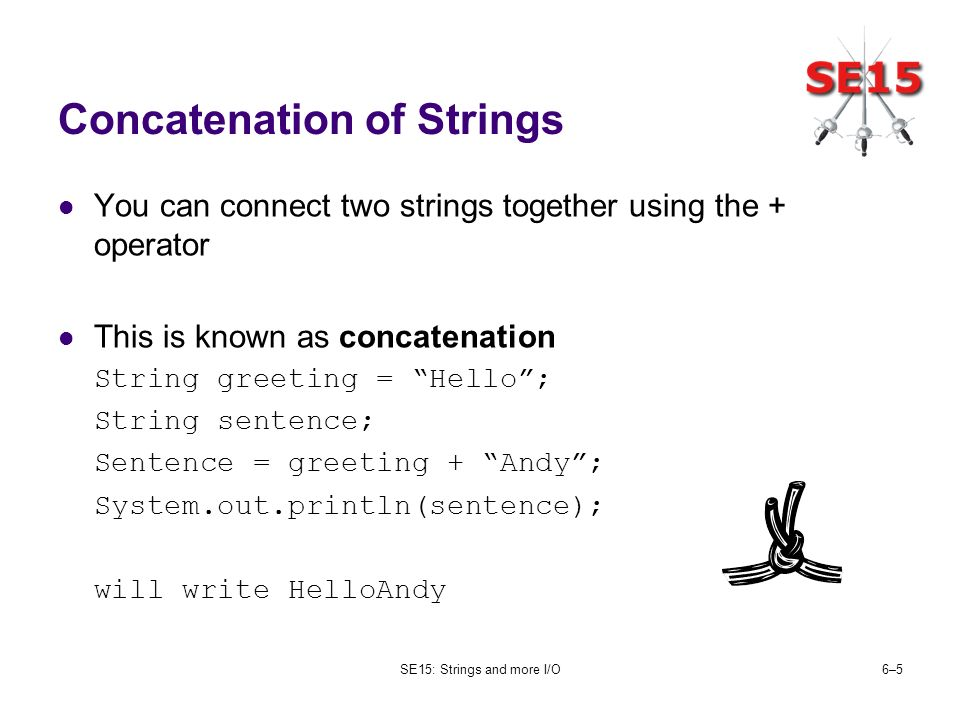 SE15: Strings and more I/O6–56–5 Concatenation of Strings You can connect two strings together using the + operator This is known as concatenation String greeting = Hello; String sentence; Sentence = greeting + Andy; System.out.println(sentence); will write HelloAndy