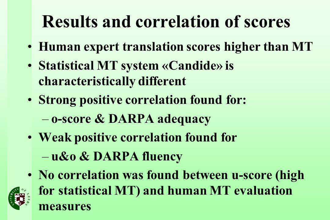 Results and correlation of scores Human expert translation scores higher than MT Statistical MT system «Candide» is characteristically different Strong positive correlation found for: –o-score & DARPA adequacy Weak positive correlation found for –u&o & DARPA fluency No correlation was found between u-score (high for statistical MT) and human MT evaluation measures