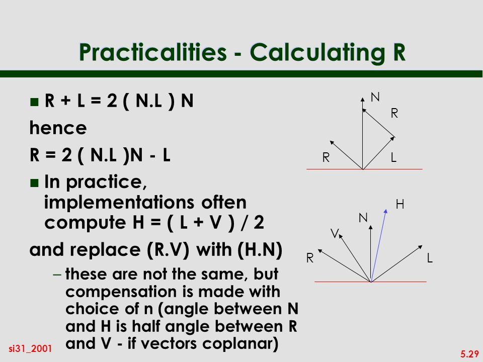 5.29 si31_2001 Practicalities - Calculating R n R + L = 2 ( N.L ) N hence R = 2 ( N.L )N - L n In practice, implementations often compute H = ( L + V