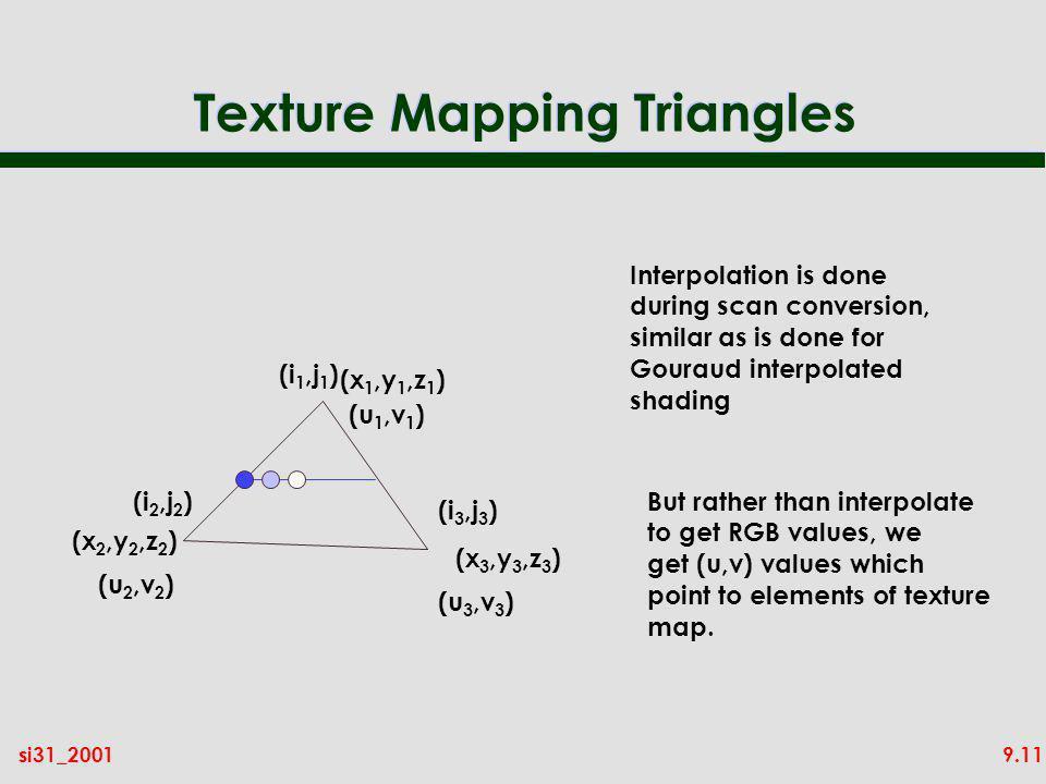 9.11si31_2001 Texture Mapping Triangles (x 1,y 1,z 1 ) (x 2,y 2,z 2 ) (x 3,y 3,z 3 ) (u 1,v 1 ) (u 2,v 2 ) (u 3,v 3 ) (i 1,j 1 ) (i 2,j 2 ) (i 3,j 3 )