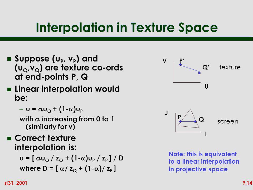 9.14si31_2001 Interpolation in Texture Space n Suppose (u P, v P ) and (u Q,v Q ) are texture co-ords at end-points P, Q n Linear interpolation would