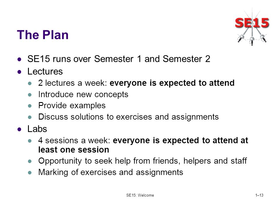 SE15: Welcome1–13 The Plan SE15 runs over Semester 1 and Semester 2 Lectures 2 lectures a week: everyone is expected to attend Introduce new concepts