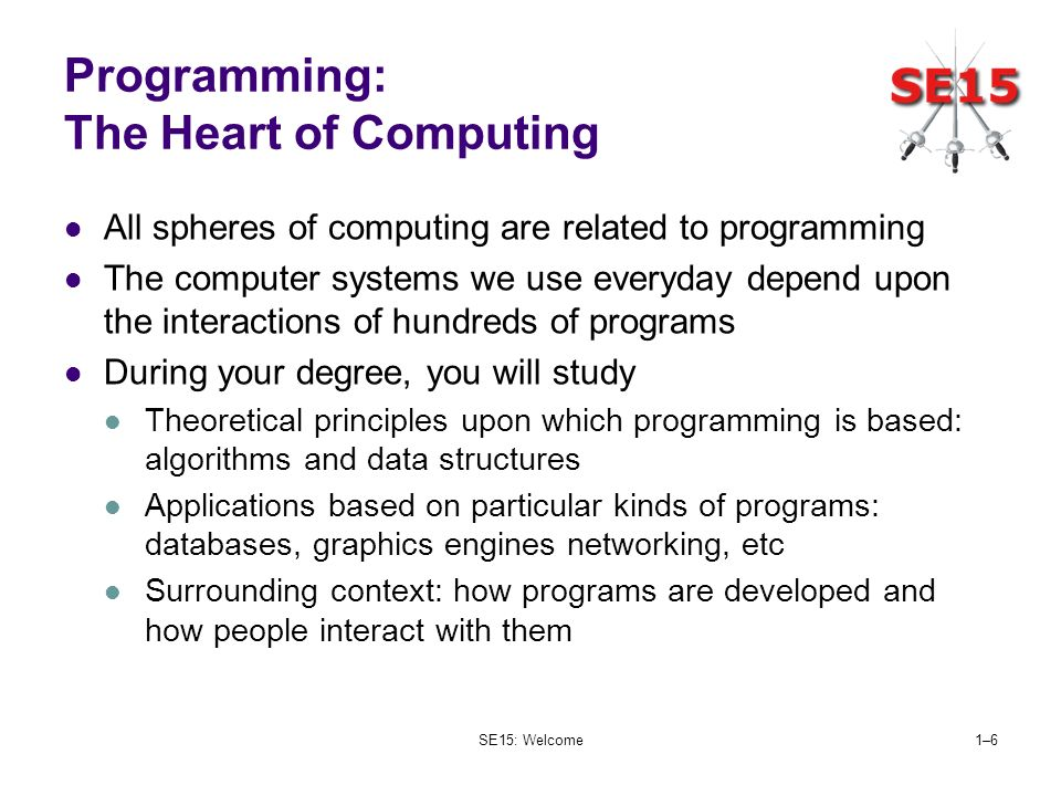 SE15: Welcome1–61–6 Programming: The Heart of Computing All spheres of computing are related to programming The computer systems we use everyday depen