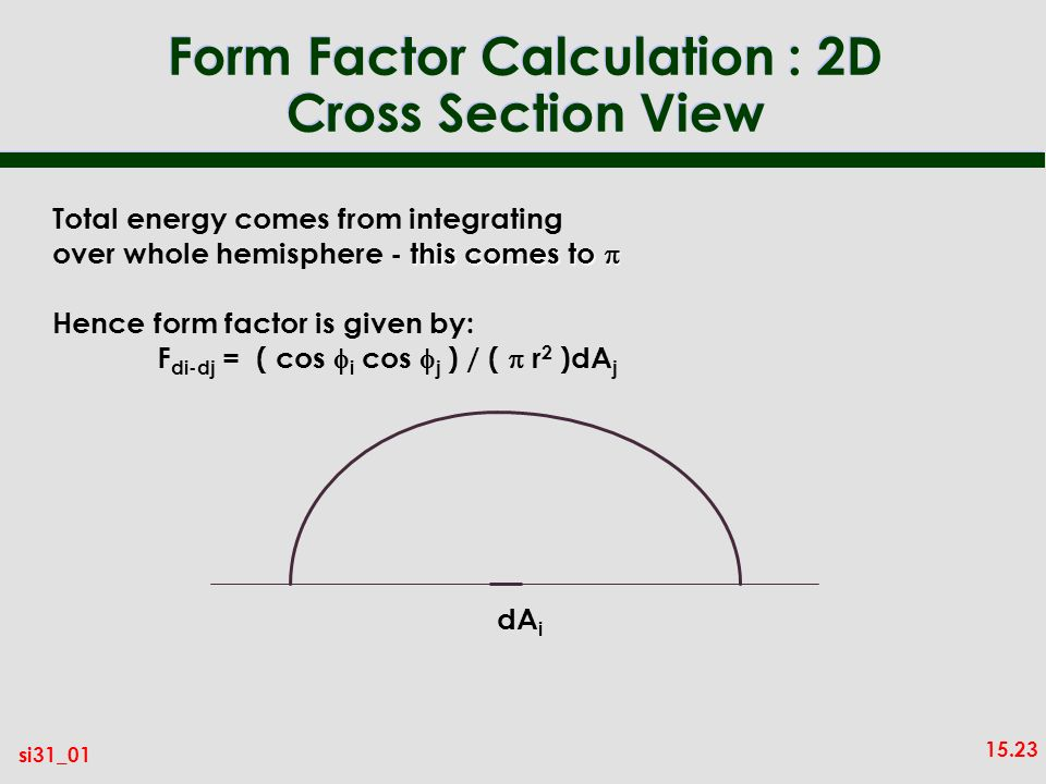 15.23 si31_01 Form Factor Calculation : 2D Cross Section View dA i Total energy comes from integrating this comes to over whole hemisphere - this comes to Hence form factor is given by: F di-dj = ( cos i cos j ) / ( r 2 )dA j