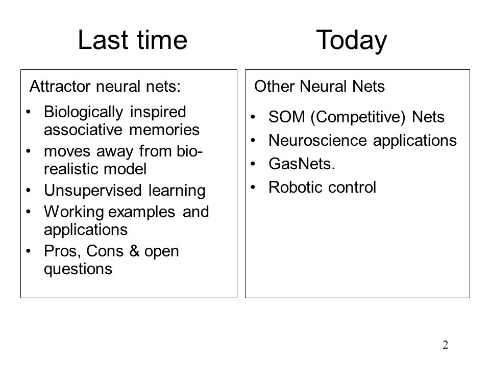 2 Last time Biologically inspired associative memories moves away from bio- realistic model Unsupervised learning Working examples and applications Pr