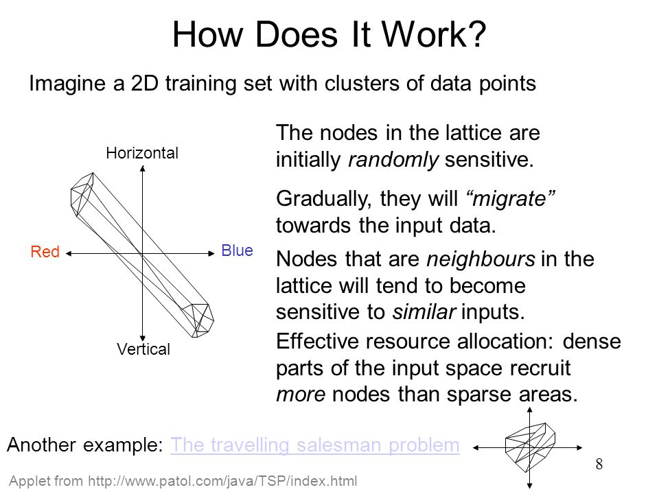 8 How Does It Work? Imagine a 2D training set with clusters of data points Vertical Blue Red Horizontal The nodes in the lattice are initially randoml