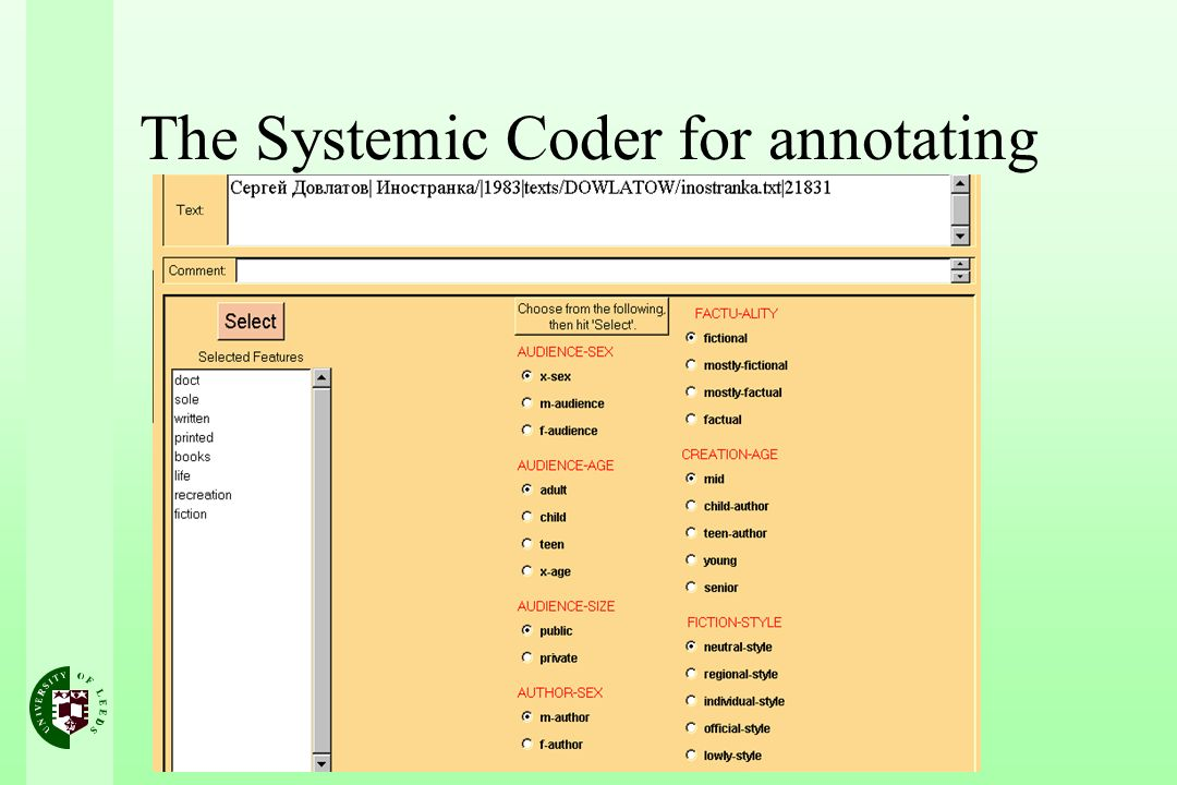 The Systemic Coder for annotating