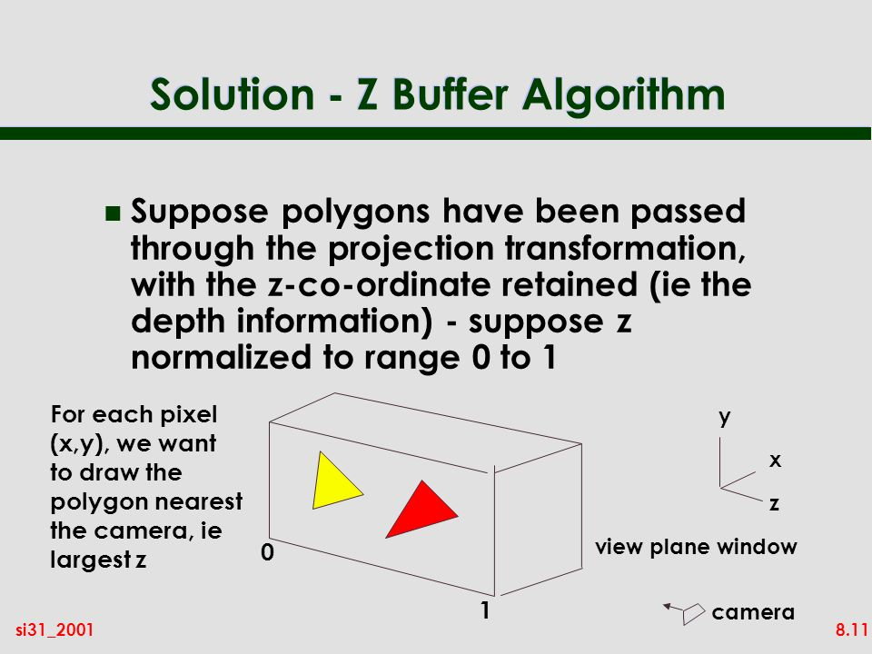 8.11si31_2001 Solution - Z Buffer Algorithm n Suppose polygons have been passed through the projection transformation, with the z-co-ordinate retained (ie the depth information) - suppose z normalized to range 0 to 1 z x y view plane window For each pixel (x,y), we want to draw the polygon nearest the camera, ie largest z 0 1 camera