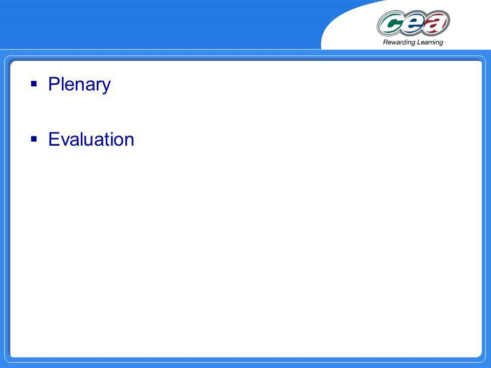 Plenary Evaluation