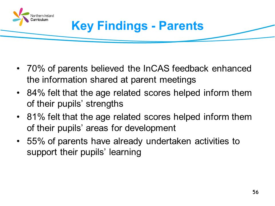 56 Key Findings - Parents 70% of parents believed the InCAS feedback enhanced the information shared at parent meetings 84% felt that the age related