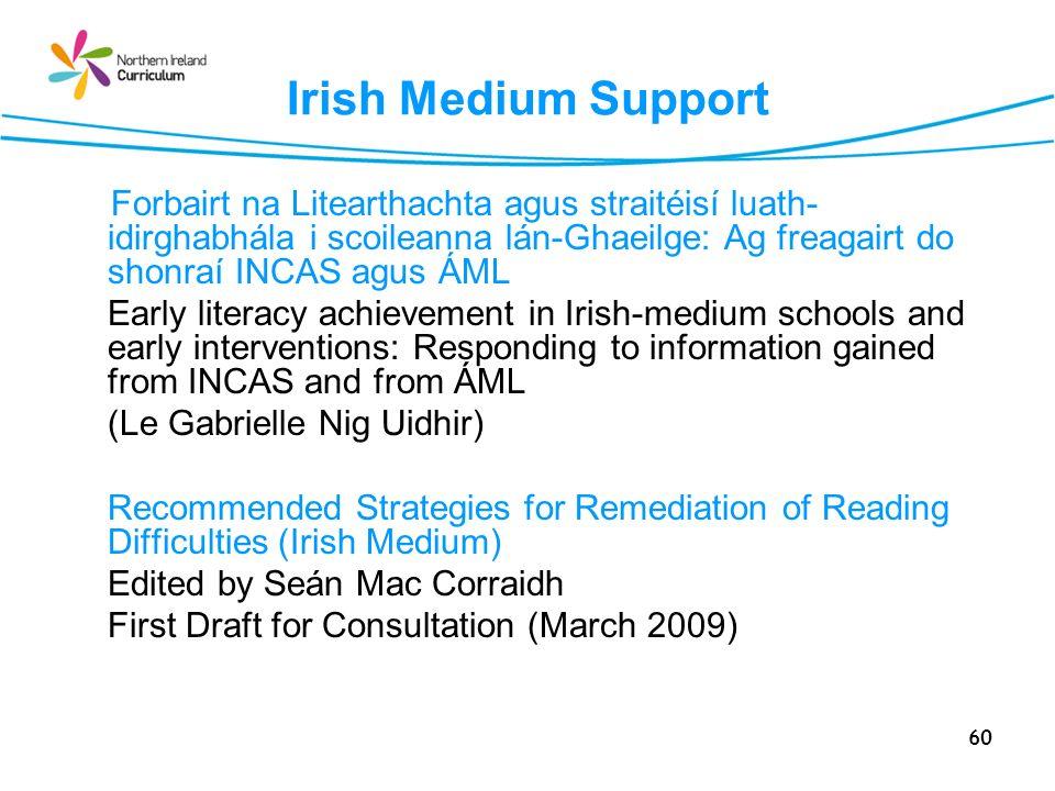 60 Irish Medium Support Forbairt na Litearthachta agus straitéisí luath- idirghabhála i scoileanna lán-Ghaeilge: Ag freagairt do shonraí INCAS agus ÁML Early literacy achievement in Irish-medium schools and early interventions: Responding to information gained from INCAS and from ÁML (Le Gabrielle Nig Uidhir) Recommended Strategies for Remediation of Reading Difficulties (Irish Medium) Edited by Seán Mac Corraidh First Draft for Consultation (March 2009)