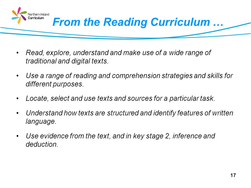 From the Reading Curriculum … Read, explore, understand and make use of a wide range of traditional and digital texts.