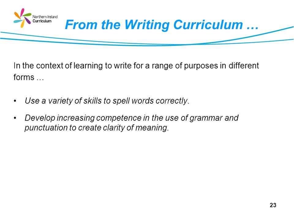 From the Writing Curriculum … In the context of learning to write for a range of purposes in different forms … Use a variety of skills to spell words correctly.