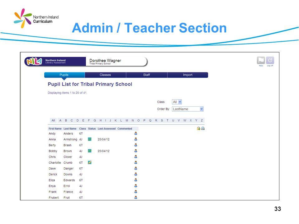 Admin / Teacher Section 33