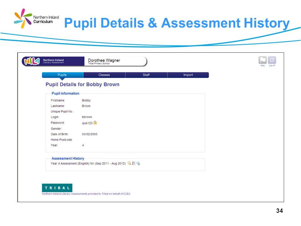 Pupil Details & Assessment History 34