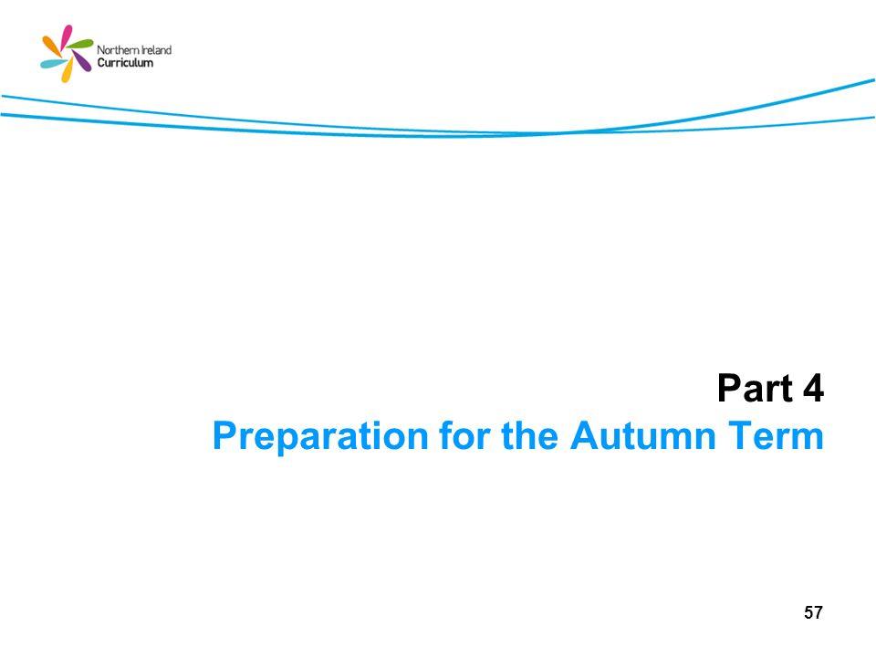 Part 4 Preparation for the Autumn Term 57