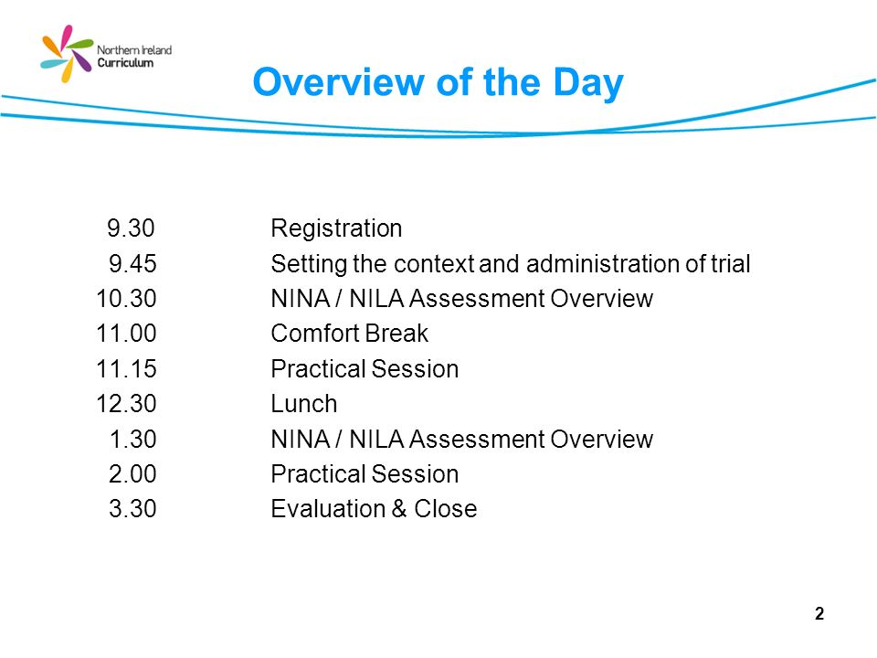 Overview of the Day 9.30Registration 9.45Setting the context and administration of trial 10.30NINA / NILA Assessment Overview 11.00 Comfort Break 11.15Practical Session 12.30Lunch 1.30NINA / NILA Assessment Overview 2.00Practical Session 3.30Evaluation & Close 2