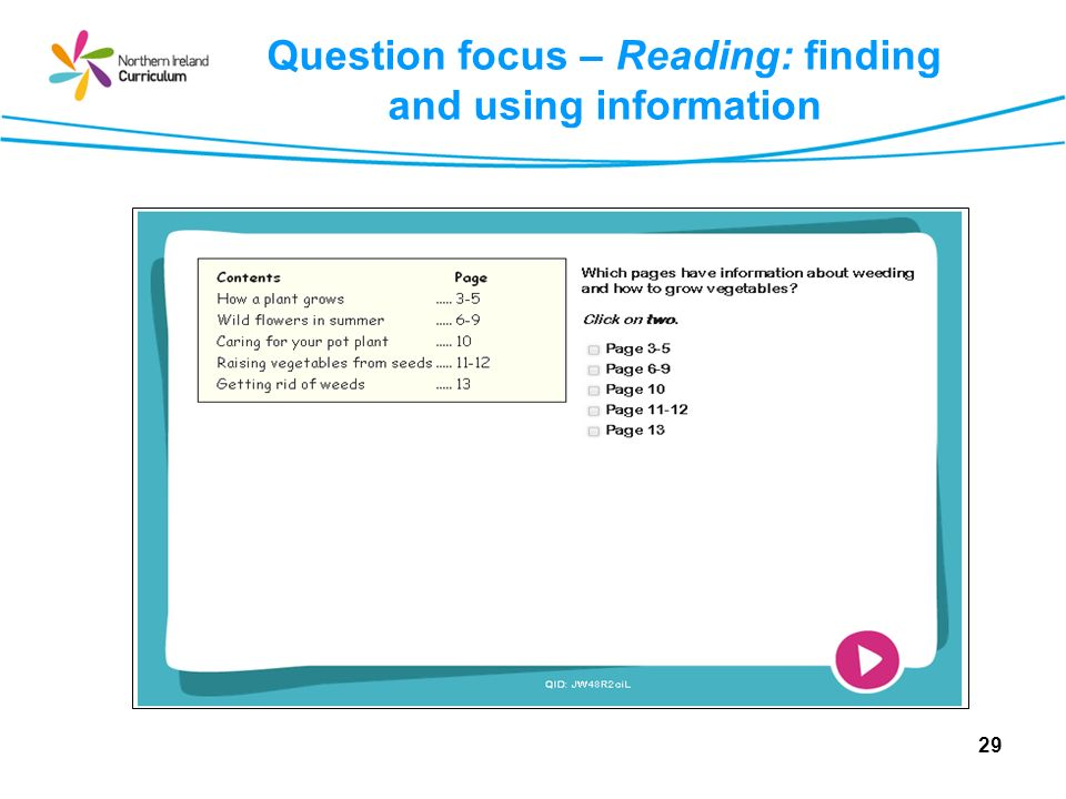 Question focus – Reading: finding and using information 29