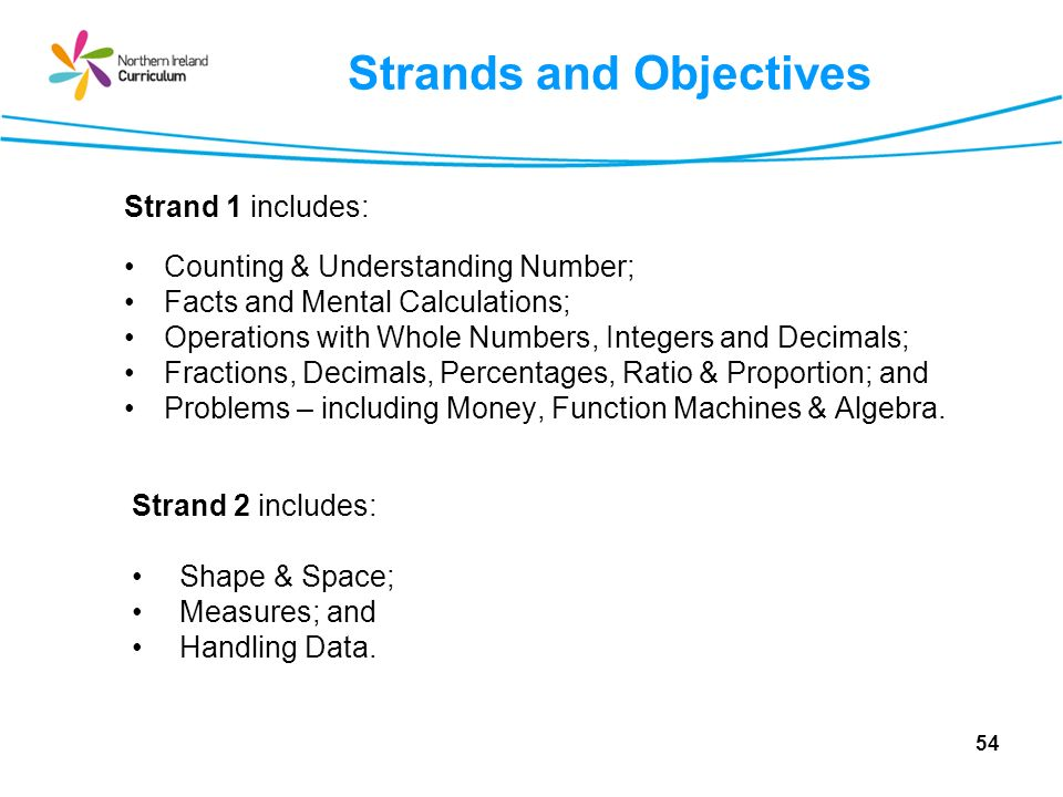 Strands and Objectives Strand 1 includes: Counting & Understanding Number; Facts and Mental Calculations; Operations with Whole Numbers, Integers and Decimals; Fractions, Decimals, Percentages, Ratio & Proportion; and Problems – including Money, Function Machines & Algebra.