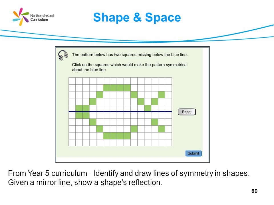 Shape & Space From Year 5 curriculum - Identify and draw lines of symmetry in shapes.