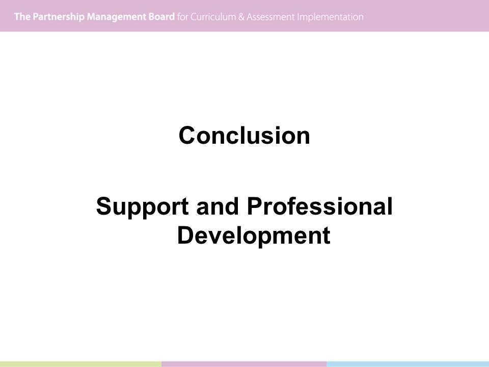 Conclusion Support and Professional Development