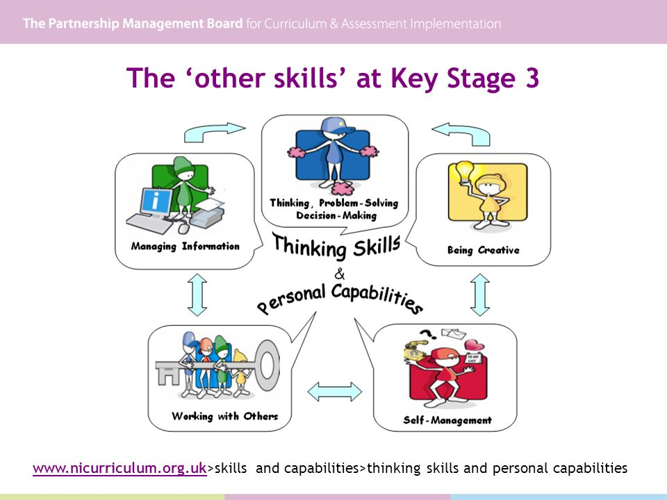 The other skills at Key Stage 3 www.nicurriculum.org.uk>skills and capabilities>thinking skills and personal capabilities